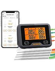 Inkbird Wi-Fi & Bluetooth Vleesthermometer IBBQ-4BW, Oplaadbare Draadloze BBQ thermometer met 4 probes voor Roker, Oven, Keuken