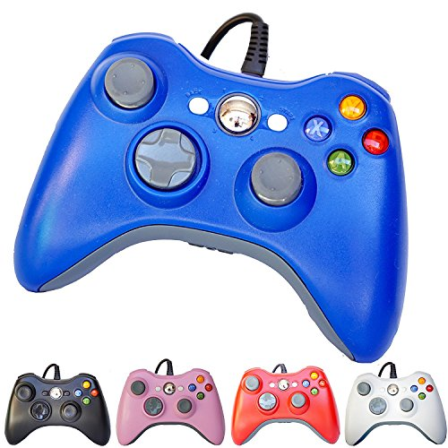 PomeMall USB Wired Game Pad Controller for Xbox 360, Windows 7 (X86), Windows 8 (X86) (Blue) (360 Controller Xbox Glowing)