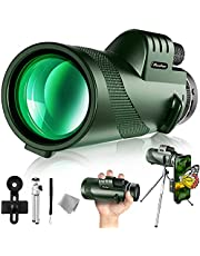 Pankoo 40X60 Monocular Telescope with Smartphone Holder & Tripod, 2021 Power Prism Compact Monoculars for Adults Kids HD Monocular Scope for Bird Watching Hunting Hiking Concert Travelling