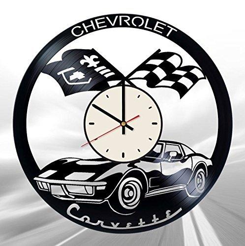Automobile Car Chevrolet Corvette Vinyl Record Wall Clock Artwork Gift idea for Birthday, Christmas, Women, Men, Friends, Girlfriend Boyfriend and Teens - Living Kids Room Nursery