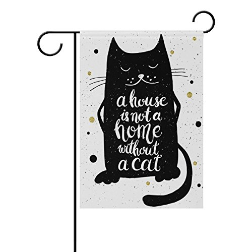 ALAZA Stylish Cute Black Cat Polyester Garden Flag House Banner 12 x 18 inch, Two Sided Welcome Yard Decoration Flag for Wedding Party Home Decor