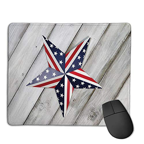 Premium Mouse Pad with Waterproof, Non Slip & Elegant Stitched Edges,4th of July Decor,Independence Day Banner with Balloons National Parade Country Image,Blue Scarlet,Consoles More Enjoy Precise &