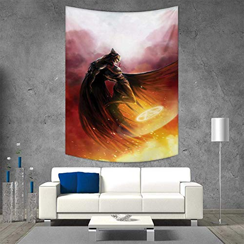 smallbeefly Fantasy World Tapestry Wall Tapestry Superhero in His Original Costume Flying Up Magic Flame Save The World Theme Art Wall Decor 60W x 91L INCH Yellow Red