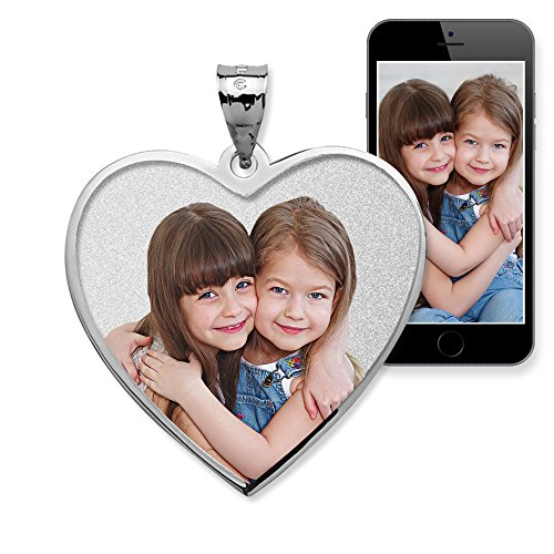 Order W2 Forms (Heart with Border Photo Pendant Picture Charm 1 inch x 1 inch - Solid 14K White Gold)