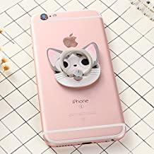 ZOEAST(TM) Grey Cat Kitty Head Universal 360° Rotating Phone Buckle Tablet Finger Grip Ring Stand Holder Kickstand Phones Tablets iPhone 4 4S 5 5S 6 6S SE 7 Plus Samsung iPad iPod (Sweet Home Cat)