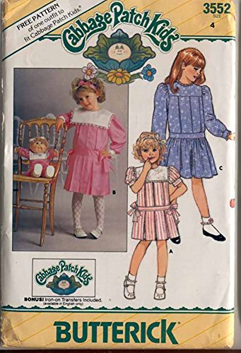 Butterick 3552 Vintage 1980s Girls Cabbage Patch Dress and Doll Dress Pattern Sz 4