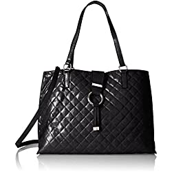 Calvin Klein Quilted Distressed Novelty Tote, Black