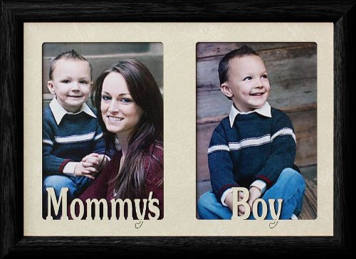 7x10 MOMMY'S BOY ~ BLACK Frame ~ Holds two 4x6 or cropped 5x