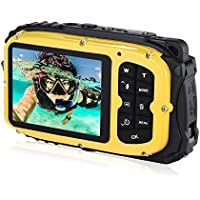 16MP 2.7 LCD Waterproof Digital Video Camera Mini Camcorder DV Underwater Max 10M Diving 8X Digital Zooming Face Detection - Yellow