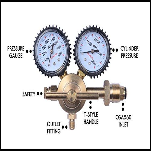 "Nitrogen Gas Regulator 500 PSI Delivery Pressure CGA580 Inlet /& 1//4/"" Male Outlet"