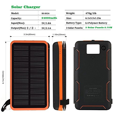 Solar Charger 24000mAh,Solar Power Bank Waterproof Dual USB Output with 3 Solar Panels External Battery Bank with Flashlight for iPhone,Samsung,iPad and Outdoor Camping(Orange) by WBPINE (Image #2)