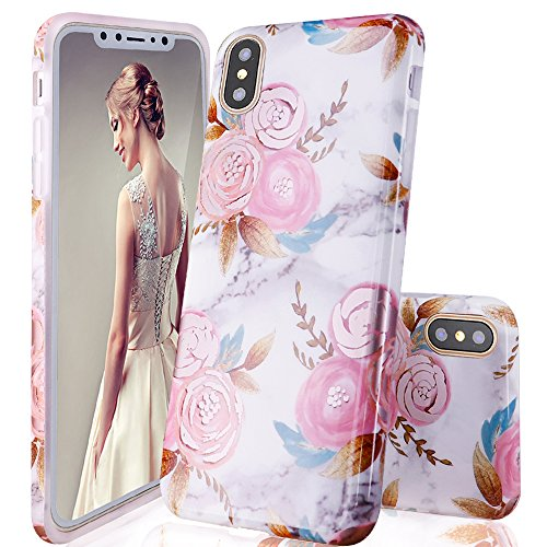 DOUJIAZ iPhone XS Case,iPhone X Case,Marble Design Clear Bumper TPU Soft Case Rubber Silicone Skin Cover for iPhone X (2017) / XS (2018) 5.8 inch-Pink Flowers