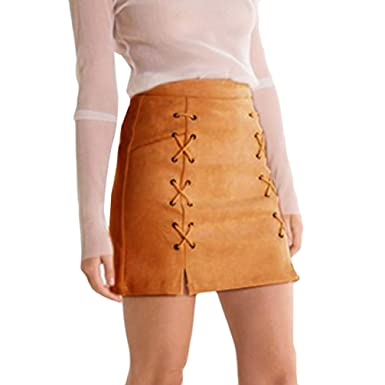 4d00d4e1180aef Women Lace-up Suede Mini Skirt Stretch Tight Short Skirt High-Waisted Lace  Up