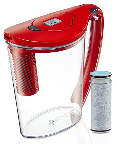 Brita 10 Cup Stream Filter as You Pour Water Pitcher with 1 Filter, Hydro, BPA Free, Chili Red (Pour Through Water Filter)