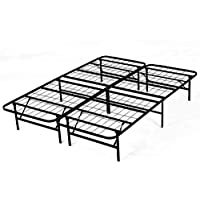 Platform Bed Frame, Metal Beds 14 Inch Box Spring Replacement Mattress Foundation Heavy Duty Steel Slat Black Full