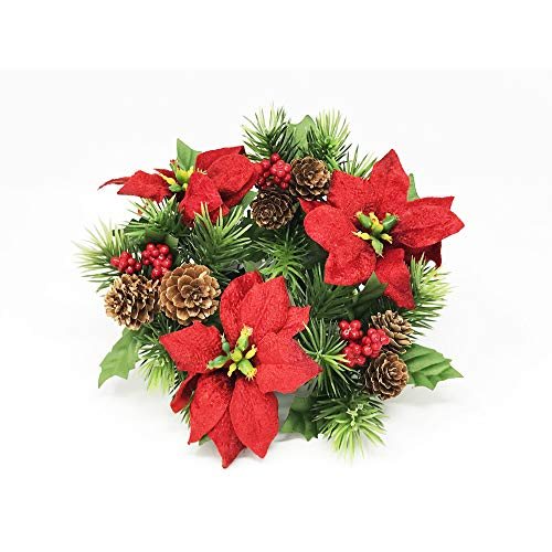 (Floristrywarehouse Poinsettia, Pine and Berry Christmas Candle Ring Artificial 20cm/8 Inches)