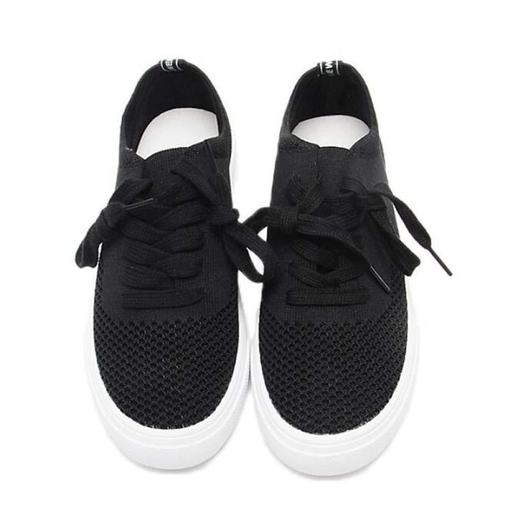 SchuheHAOGE Damenschuhe Canvas Spring Comfort Turnschuhe Flache Ferse Geschlossene Zehe Schwarz