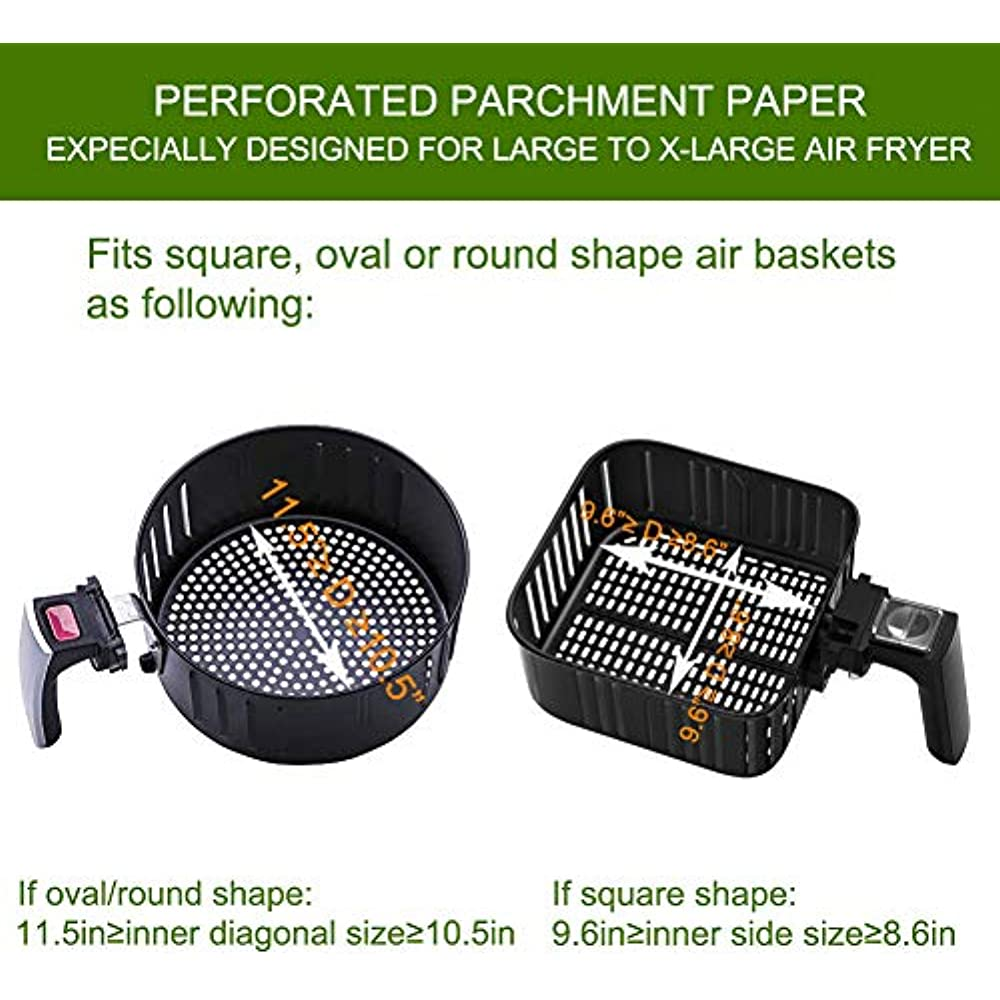 Air Fryer Perforated Paper, Set Of 200, 8.5 Inch Liners