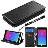 Executive Design Black Wallet Flip Case for LG Leon 4G LTE Android 5.0 Lollipop