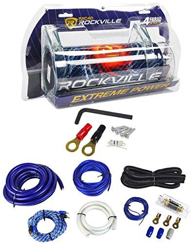 Rockville RXC4D 4 Farad/12 Volt Digital Power Capacitor+RWK01 0 AWG Amp Wire Kit