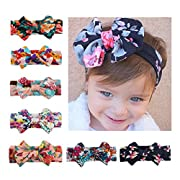 Calliar Baby Headbands Elastic Girl's Hairbands For Newborn,Toddler and Childrens(7Pack,Flower Bow)
