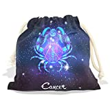 Constellation Zodiac Sign Cancer Velvet Drawstring Gift Bag Wrap Present Pouches Favor for Jewelry, Coin, Holiday, Birthday, Party, 6X8 Inches