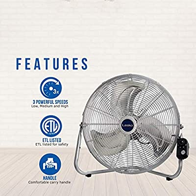 Lasko 20? High Velocity QuickMount, Silver-Easily Converts from a Floor Wall Fan, 2265QM
