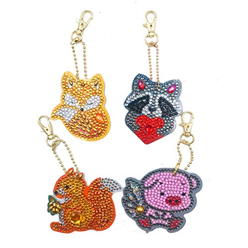 4Pcs DIY Toy Christmas Tree 5D Diamond Painting KeyRing Key Chain Pendant Gift Little Pig Fox ()