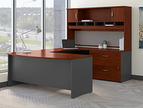 (Bush Business Furniture SRC005HCRSU Series C 72W Right Handed Bow Front U Shaped Desk with Hutch and Storage in Hansen Cherry,)