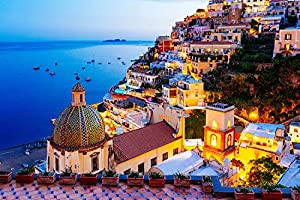 Jigsaw Puzzle 1000 Piece - Dreamy Positano - Signature Collection Twilight Sea Sight Large Puzzle Game Artwork for...