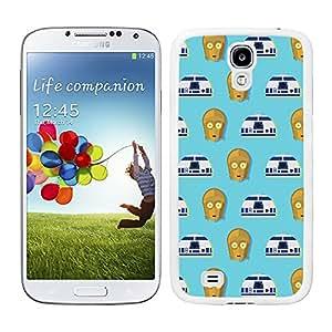 Funda carcasa TPU (Gel) para Samsung Galaxy S4 estampado C3PO Y R2D2 fondo azul SW borde blanco