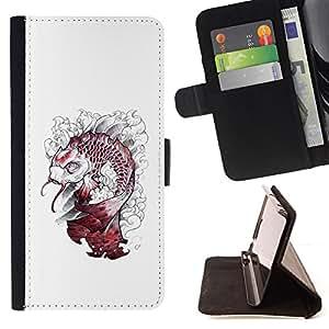 """For Samsung Galaxy A5 ( A5000 ) 2014 Version,S-type Kraken Pescado Blanco Monster"""" - Dibujo PU billetera de cuero Funda Case Caso de la piel de la bolsa protectora"""