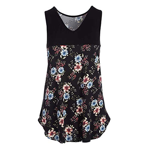 Womens Tops Summer Printed Sleeveless V Neck T Shirts Blouse Loose Tunic Tank Tops Black