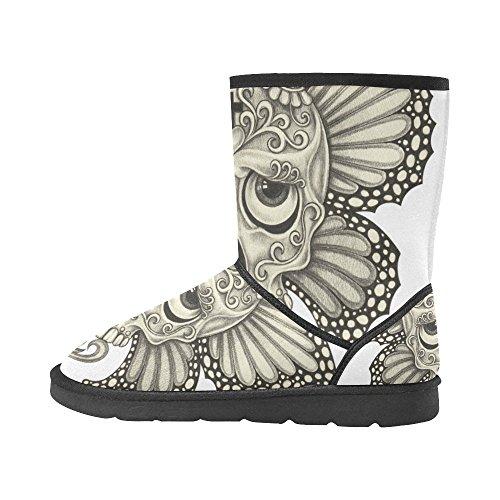 Women's Custom Skull Boots Boots Snow Unique InterestPrint Designed Winter OYw4qfx7