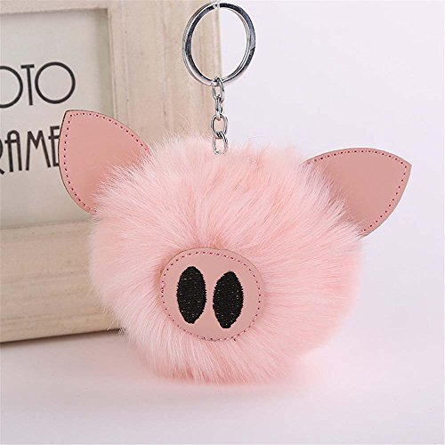 Pink Pig Charm - CHOP MALL Fur Ball Ornament Cute Pig Nose Plush Pom Pom Charm Keychain For Handbag Purse Car Key Chain Keyring Accessory (Light Pink)