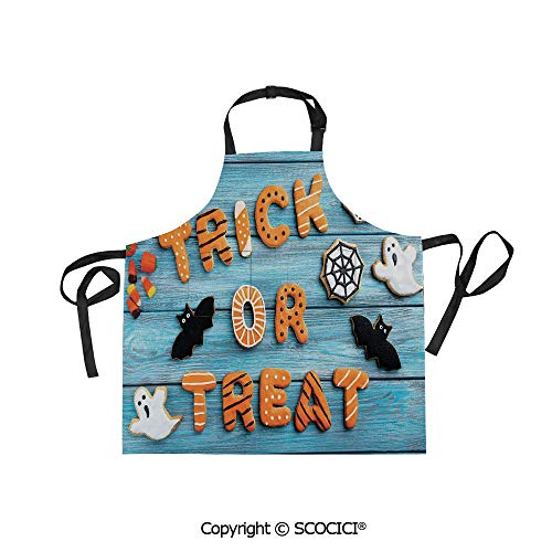SCOCICI Printed Unisex Kitchen Bib Apron with Pockets Adjustable Neck,Trick or Treat Cookie Wooden Table Bat Web Halloween,for Cooking Baking Gardening