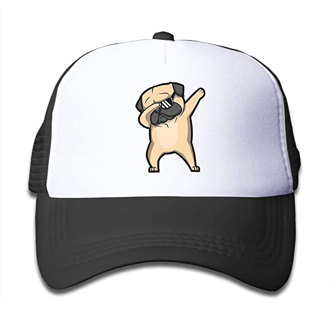 f6480a8a563 Dabbing Pug Adjustable Peaked Mesh Cap Trucker Hat For Baby  Amazon ...