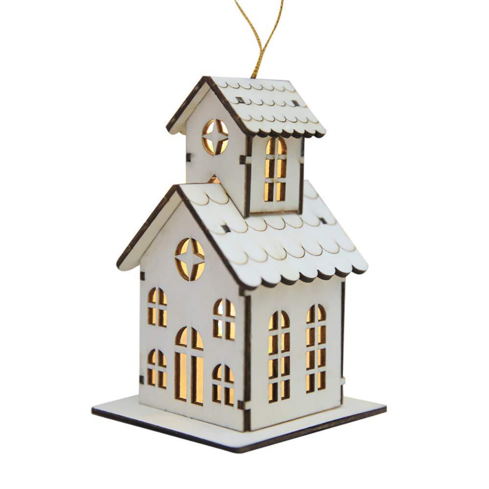 Decoracion de muebles, BaZhaHei, Decoraciones navideñas Led luminosos cabañas colgantes adornos de mesa de navidad del Colgante de luz led para ...