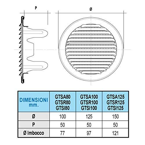 La ventilation gtsa80r-y Grille ronde encastrable 100/mm aluminium