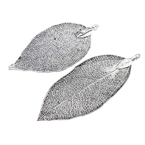 - 2pcs Handmade Real Leaf Electroplated Finished Copper Filigree Leaf Pendant Necklace Jewelry Crafting Key Chain Bracelet Pendants Accessories Best| Color - Metallic Black