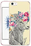 iphone 5 case vintage floral - Iphone SE Case Sheep - CCLOT Iphone 5S Cover Iphone 5 bumper Protective Vintage Creative Sheep Goat Animal Flower Floral Pattern (TPU Protective Silicone Cover)