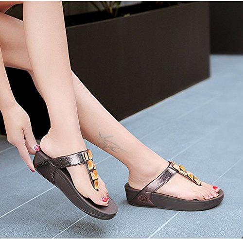de Grueso Rhinestone Zapatos Brown Antideslizante Mujer Fondo Chancletas Pendiente Playa NVXIE Pellizcar Sandalias nZxv8RCwxq