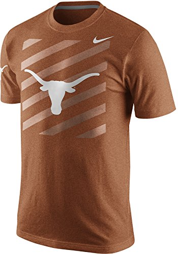Longhorns Short Texas T-shirt Sleeve - Nike Texas Longhorns Tri-Blend Logo Varsity Stripe Block T-Shirt (Burnt Orange, Large)