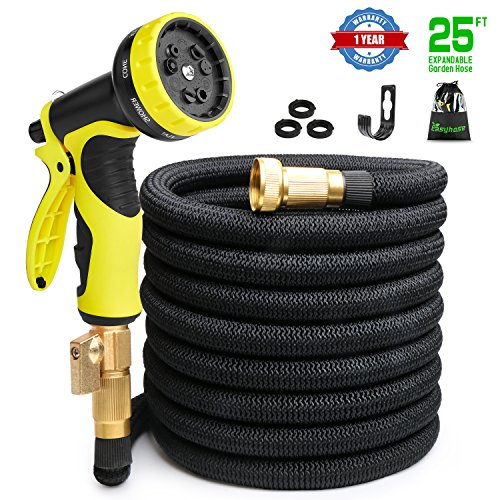 25ft Expandable Garden Hose, Expandable water Hoses with 3/4 inch Strong Solid Brass Connector, 9 Function Expanding Hoses Nozzle Flexible Lightweight Gardening Hose Outdoor Yard Hoses No-kink(Black)