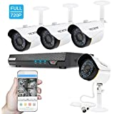 TECBOX Security Camera System Home Video Camera 4 Channel 720P AHD Dvr Recorder No Hard Drive With 4 HD 2.0MP Waterproof Night Vision Outside Security Outdoor CCTV Surveillance Camera System
