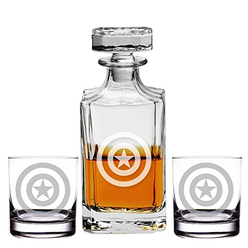 Abby Smith, Captain America Engraved Decanter and Rocks Glasses, Set of -