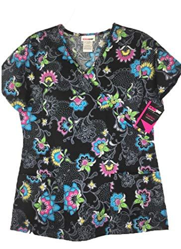 ScrubStar Embrace Lace Women's Mock Wrap Printed Scrub Top (X-Small) (Mock Paisley Wrap)