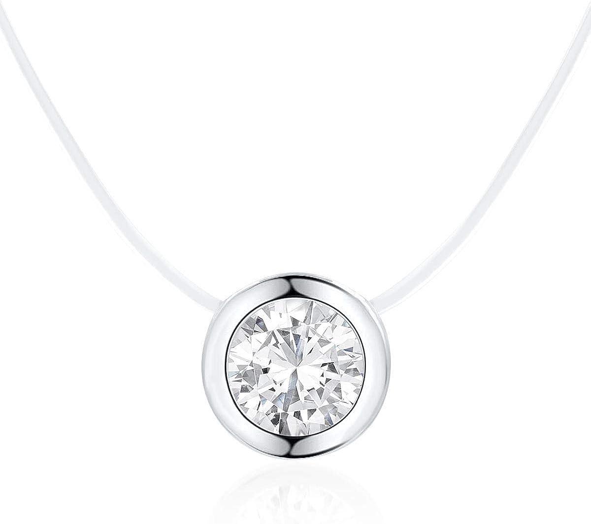DIAMOND QUEENS® - Cadena de filigrana flotante de nailon con colgante de piedra de circonita cúbica, discreta en caja de joyas