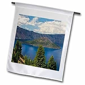 Danita Delimont–Parque Nacional–Cráter Lago y asistente isla, Cráter lago parque nacional, Oregon, Estados Unidos–banderas