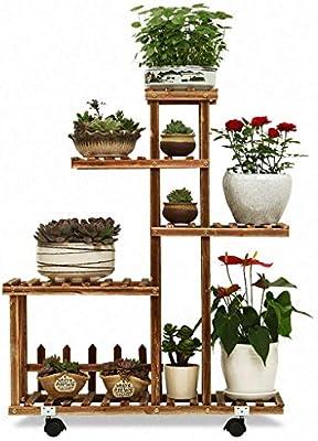 Estante Soporte de flores de 4 capas Jardín de madera al aire libre Flor de hogar Balcón Estante Escalera Soporte de exhibición Plato de flores plegable libre Plato - Blanco Soporte de